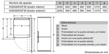 Frigorífico Combi Bosch KGN39HIEP Inoxidable antihuellas de 204 x 60 cm No Frost | WiFi Home Connect | Clase E | Serie 6 - 10