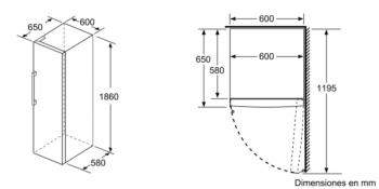 Congelador Vertical Bosch GSN36VIFP Inoxidable antihuellas de 186 x 60 cm No Frost | Motor Inverter Clase A++ | Serie 4 - 6