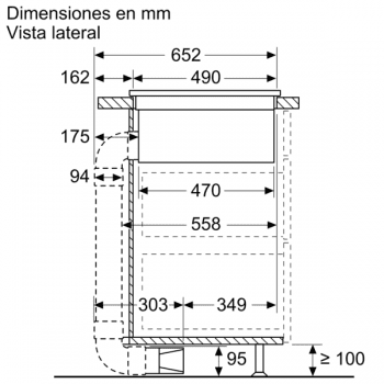 Placa de Inducción Bosch PVQ731F25E de 70 cm a 622 m³/h con 2 Zonas de cocción combinadas | Con campana integrada | Clase B - 4