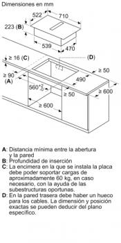 Placa de Inducción Bosch PVQ731F25E de 70 cm a 622 m³/h con 2 Zonas de cocción combinadas | Con campana integrada | Clase B - 5