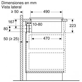 Placa de Inducción Bosch PVQ731F25E de 70 cm a 622 m³/h con 2 Zonas de cocción combinadas | Con campana integrada | Clase B - 8