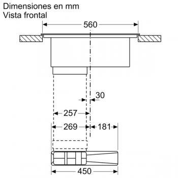Placa de Inducción Bosch PVQ731F25E de 70 cm a 622 m³/h con 2 Zonas de cocción combinadas | Con campana integrada | Clase B - 9