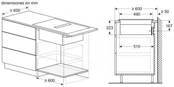 Placa de Inducción Bosch PVQ731F25E de 70 cm a 622 m³/h con 2 Zonas de cocción combinadas | Con campana integrada | Clase B - 10
