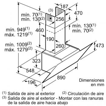 Campana Decorativa Balay 3BC598ANC de 90cm | Cristal Negro | Control Placa-Campana - 9