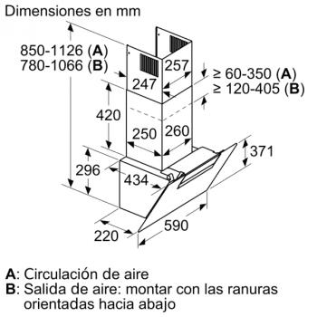 Campana Decorativa Balay 3BC566GN de 60cm | Cristal Negro | Control Táctil | 398.0 m³/h| Encastrable | STOCK - 8