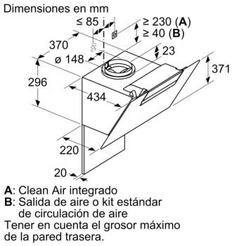 Campana Decorativa Balay 3BC566GN de 60cm | Cristal Negro | Control Táctil | 398.0 m³/h| Encastrable | STOCK - 10