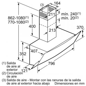 Campana Decorativa Balay 3BC585GB de 80cm | Cristal Blanco | 629 m3/h | Encastrable - 10