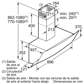 Campana Decorativa Balay 3BC585GN de 80cm   Cristal Negro   Control Táctil   Encastrable - 10