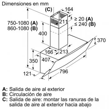 Campana Decorativa Balay 3BC585GN de 80cm | Cristal Negro | Control Táctil | Encastrable - 10