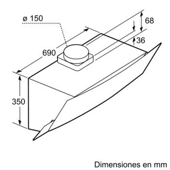 Campana Decorativa Balay 3BC585GN de 80cm   Cristal Negro   Control Táctil   Encastrable - 12