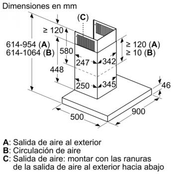Campana Decorativa Balay 3BC998AXD de 90cm | Encastrable | Acero tras Cristal | Control Placa-Campana - 7