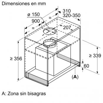 Campana Decorativa Balay 3BD896MX de 90cm | INOX | Integrable | Iluminación LED | Clase A - 7