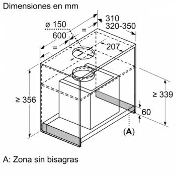Campana Decorativa Balay 3BD866MX de 60 | INOX | Control Mecánico | Instalación en recirculación - 7