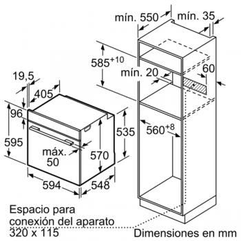 Horno Bosch HBA174ES0 Pirolítico Inoxidable de 60 cm | 10 Recetas pre-programadas Gourmet | Calentamiento 3D Professional | Clase A | Serie 2 - 7