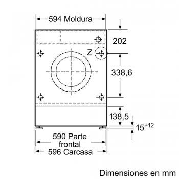 Lavadora Siemens WI14W541ES Integrable de 8 Kg a 1400 rpm | Tecnología varioSpeed | Motor iQdrive A+++ -10% | iQ700 - 6