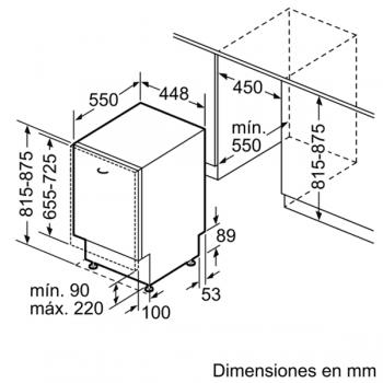 Lavavajillas Siemens SR65ZX11ME Integrable de 45 cm para 10 servicios | Secado mediante Zeolitas® | Función varioSpeed+ | WiFi Home Connect | Clase A+++ | iQ500 - 7