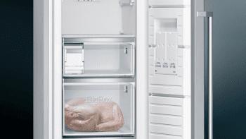 Congelador 1P Siemens GS36NAIDP Inoxidable antihuellas de 186 x 60 cm No Frost con Super congelación | Dispensador de hleio | Clase D | iQ500 - 5