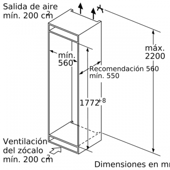 Congelador Vertical Siemens GI81NAEF0 Integrable de 177.2 x 55.8 cm No Frost | Clase A++ | iQ500 - 4