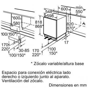Congelador Vertical Siemens GU15DADF0 Integrable Bajo encimera de 82 x 59.8 cm | Súper congelación | Clase F | iQ500 - 2
