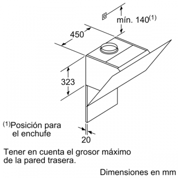 Campana de Pared Decorativa Siemens LC87KHM60 Cristal Negro de 80 cm con una potencia de 700 m³/h | Clase B | iQ300 - 11