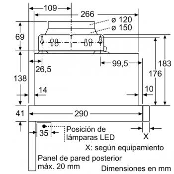 Campana Telescópica Extraíble Siemens LI64MB521 en Plata Metalizado de 60 cm con una potencia de 389 m³/h | Motor iQdrive Clase B | iQ100 - 2