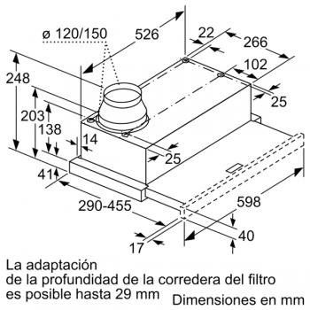 Campana Telescópica Extraíble Siemens LI64MB521 en Plata Metalizado de 60 cm con una potencia de 389 m³/h | Motor iQdrive Clase B | iQ100 - 8