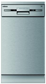 Lavavajillas Edesa EDW-4710 X Inoxidable, de 45 cm, para 10 servicios con 7 programas de lavado | Clase E