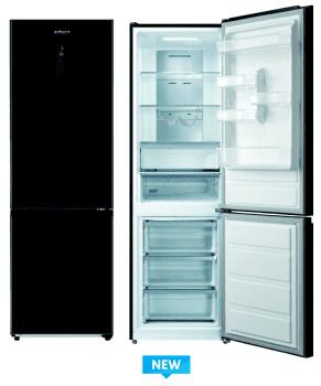 Frigorífico Combi Edesa EFC-1832 DNF GBK/A en Cristal Negro de 188 cm con sistema No Frost