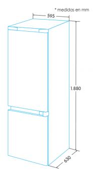 Frigorífico Combi Edesa EFC-1832 DNF GWH/A en Cristal Blanco de 188 x 59.5 cm con sistema No Frost - 3