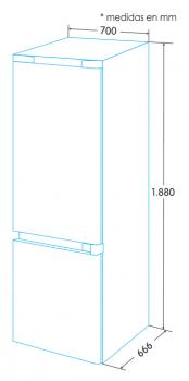 Frigorífico Combi Edesa EFC-7832 DNF EX/A Inoxidable de 188 x 70 cm con sistema No Frost - 3