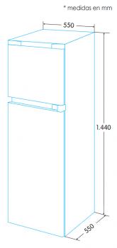Frigorífico 2 Puertas Edesa EFT-1411 WH/A Blanco de 144 x 55 cm con capacidad de 204 L, las puertas son reversibles   Eficiencia F - 3