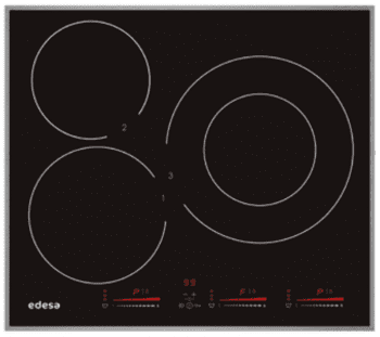Placa de Inducción Edesa EIM-6330 A de 60 cm con marco de aluminio, 3 Zonas de inducción (30 cm máx) con 9 niveles de potencia y Booster con Función Stop & Go