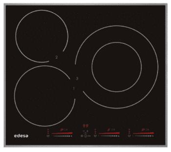 Placa de Inducción Edesa EIM-6330 B de 60 cm con marco de aluminio, 3 Zonas de inducción (30 cm máx) con 9 niveles de potencia y Booster con Función Stop & Go
