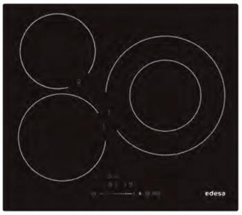 Placa de Inducción Edesa EIS-6330 R de 60 cm con 3 Zonas de inducción (30 cm máx) con 9 niveles de potencia y Booster