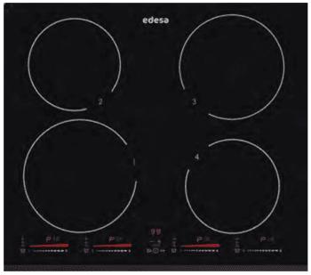 Placa de Inducción Edesa EIM-6422 B con 4 Zonas de inducción (22 cm máx) con 9 niveles de potencia y Booster