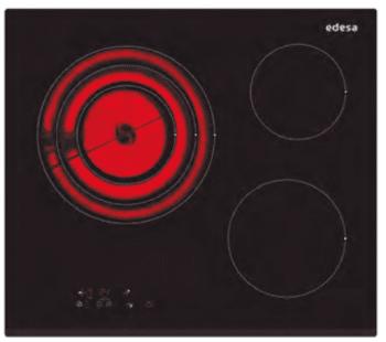 Placa Vitrocerámica Edesa EVT-6328 B con 3 Zonas de cocción (28 cm máx) con 9 niveles de potencia