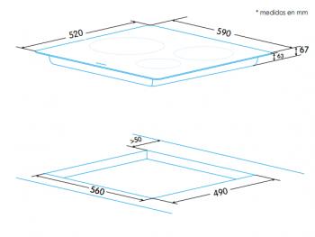 Placa Vitrocerámica Edesa EVT-6328 R con 3 Zonas de cocción (28 cm máx) con 9 niveles de potencia - 2