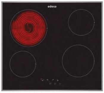 Placa Vitrocerámica Edesa EVT-6421 X con 4 Zonas de cocción (21.5 cm máx) con 9 niveles de potencia