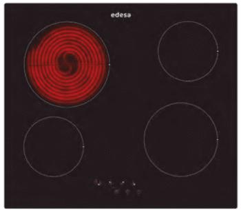 Placa Vitrocerámica Edesa EVT-6421 R con 4 Zonas de cocción (21.5 cm máx) con 9 niveles de potencia