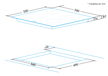 Placa Vitrocerámica Edesa EVT-6421 R con 4 Zonas de cocción (21.5 cm máx) con 9 niveles de potencia - 2