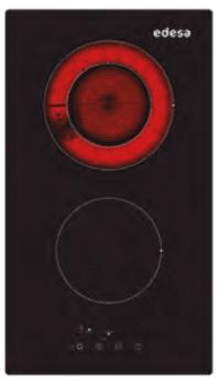 Placa Vitrocerámica Modular Edesa EVT-3218 R con 2 Zonas de cocción (18.5 cm máx) con 9 niveles de potencia