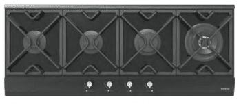 Placa de Gas Edesa EGG-1240 TI TR CI N con 4 Quemadores con parrilla de hierro fundido | Gas Natural y Butano