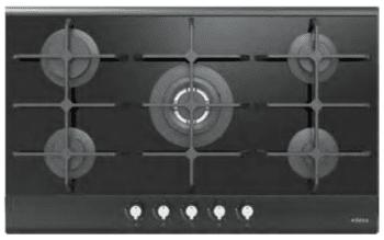 Placa de Gas Edesa EGG-9050 TI TR CI N con 5 Quemadores con parrilla de hierro fundido   Gas Natural y Butano