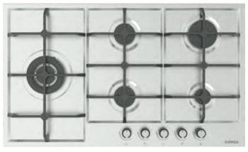 Placa de Gas Edesa EGX-9050 TI TR CI N con 5 Quemadores con parrilla de hierro fundido   Gas Natural y Butano