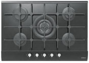 Placa de Gas Edesa EGG-7550 TI TR CI N con 5 Quemadores con parrilla de hierro fundido   Gas Natural y Butano