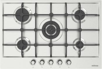 Placa de Gas Edesa EGX-7550 TI TR CI N Inoxidable de 75cm, con 5 Quemadores con parrilla de hierro fundido   Gas Natural
