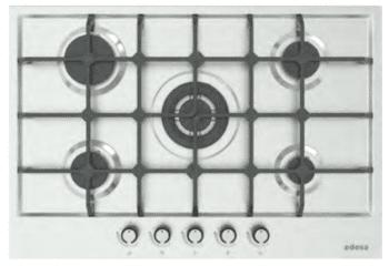 Placa de Gas Edesa EGX-7550 TI TR CI N con 5 Quemadores con parrilla de hierro fundido   Gas Natural y Butano