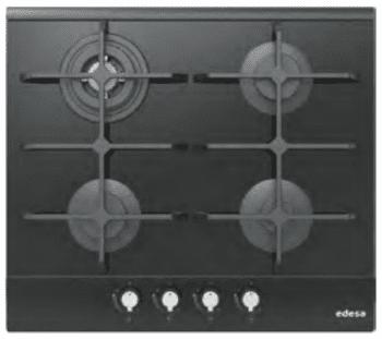 Placa de Gas Edesa EGG-6040 TI TR CI N con 4 Quemadores con parrilla de hierro fundido | Gas Natural