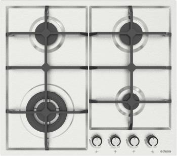Placa de Gas Edesa EGX-6040 TI TR CI B Inoxidable de 60cm, con 4 Quemadores con 2 parrillas de hierro fundido   Gas Butano