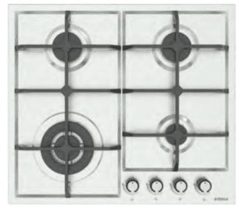 Placa de Gas Edesa EGX-6040 TI TR CI B con 4 Quemadores con parrilla de hierro fundido | Gas Butano